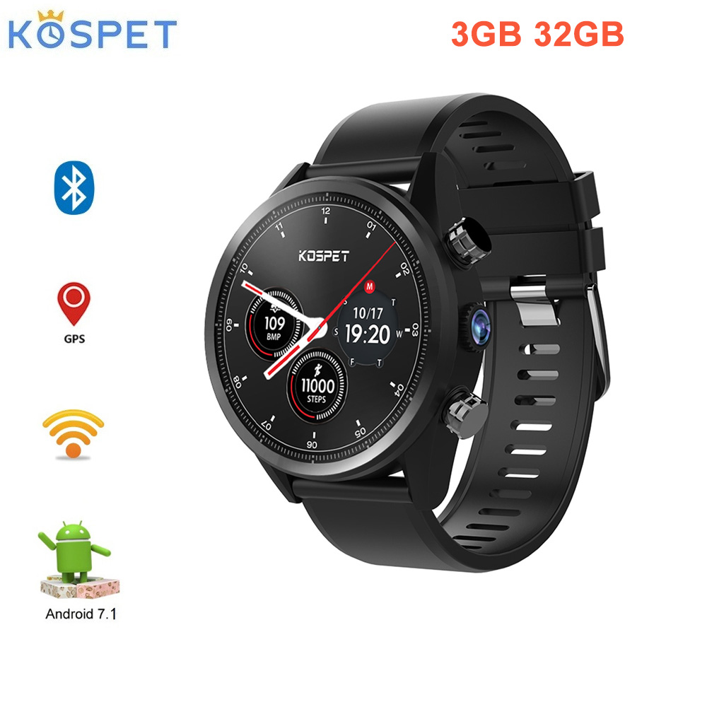 "Kospet Hope 4G Smartwatch Phone 1.39"" Waterproof Android 7.1 MTK6739 1.3GHz 3GB 32G 8.0MP Cam Built In 620mAh Heart Rate Monitor