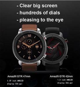 Image 5 - ساعة ذكية Huami 5ATM مقاومة للماء, الإصدار العالمي Amazfit GTR 47 ملليمتر ساعة ذكية Huami 5ATM ساعة ذكية مقاومة للماء 24 يومًا بطارية GPS التحكم في الموسيقى لنظام Android IOS