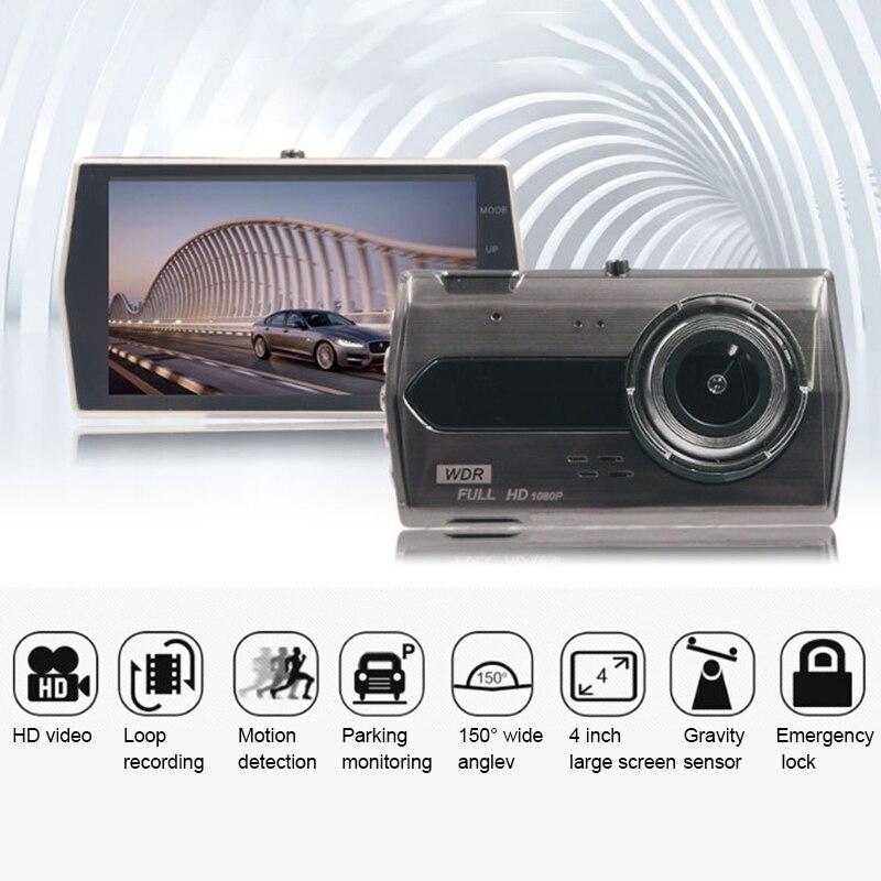 Автомобильная камера, 4 дюйма, Full HD 1080, двойной объектив, фронтальная и задняя видеокамера, циклическая запись, авто видеорегистратор, прибор...