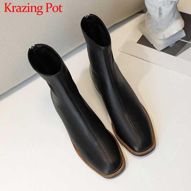 Krazing Pot avrupa tarzı hakiki deri eğlence moda kadın ayakkabı yuvarlak ayak med topuklar geri fermuar kış ayak bileği çizmeler L16