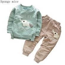 цена на Autumn Children Cotton Clothing Suit Spring Baby Boys Girl Cartoon Elephant Sets Kids T-Shirt Pants 2 Pcs/sets Toddler Tracksuit