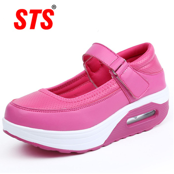 STS womens causal shoes leather women nurse footwear platform soft bottom flats sports leisure shallow mouth ladies