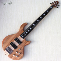 5 string fretless with fret line neck through electric bass guitar hickory wood top active bass guitar with free bass guitar bag