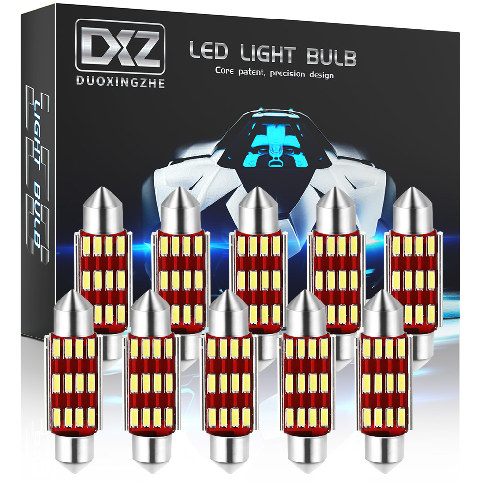 DXZ 10 шт. C5W C10W Светодиодный лампочки Canbus Festoon-31MM 36 мм/39 мм/41 мм 4014 чип салона Купол светильник чтения светильник авто светодиодные лампы 12 В