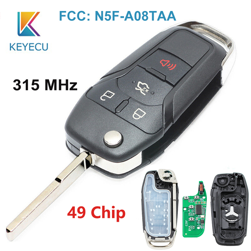KEYECU 4 Buttons 315MHz 49 Chip HU101 Keyless Entry Flip Remote <font><b>Key</b></font> For <font><b>Ford</b></font> <font><b>Fusion</b></font> 2013 2014 <font><b>2015</b></font> 2016 2017 FCC ID: N5F-A08TAA image