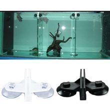 HOT 2 Pcs Aquarium Fish Tank Plastic Sucker Clip Divider Sheet Holder  Black/White Color