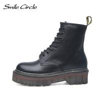 Smile Circle Size 35 42 Flat Platform Boots Women Shoes Autumn Winter Fur Fashion Round Toe Lace up Leather Boots Ladies Shoes
