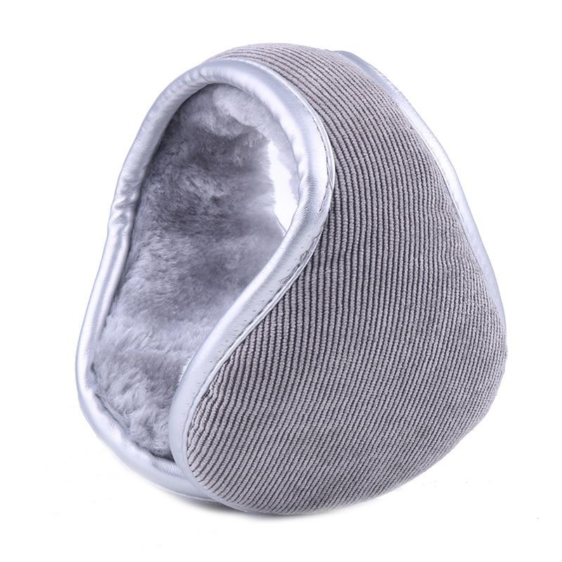 Winter Earmuffs For Men Women Foldable Ear Warmers PU Leather Brim Plush Ear Muffs Faux Rabbit Fur Warm Ear Cover Bag Headband
