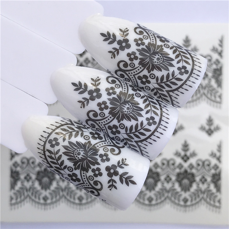 New Style Manicure Watermarking Adhesive Paper-Black And White With Pattern Flower Lace Plastic Decoration Nail Sticker Flower J