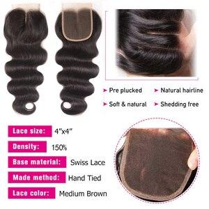 Image 4 - Sunber saç perulu vücut dalga saç demetleri ile kapatma yüksek oranlı Remy saç 3/4 demetleri ile kapatma çift makine saç atkı