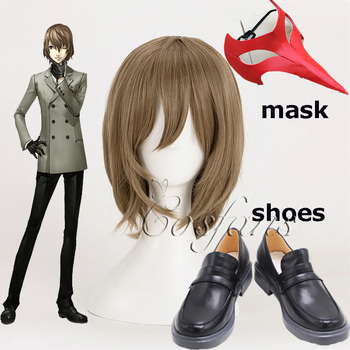 Persona 5 Cosplay Goro Akechi Cosplay peruki maska buty PropsShort pościel ciemnoszary żaroodporne włosy syntetyczne peruka + czapka z peruką