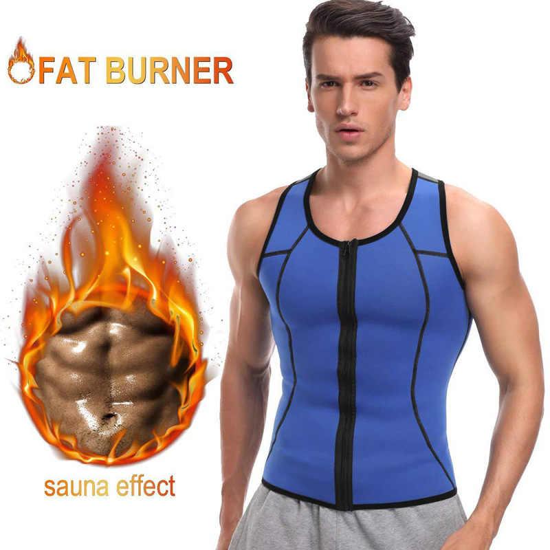 Erkek spor yelek neopren korse Sauna etkisi yağ yakıcı tatlı ter ateş yelek mide zayıflama bel eğitmen Shapewear Tops