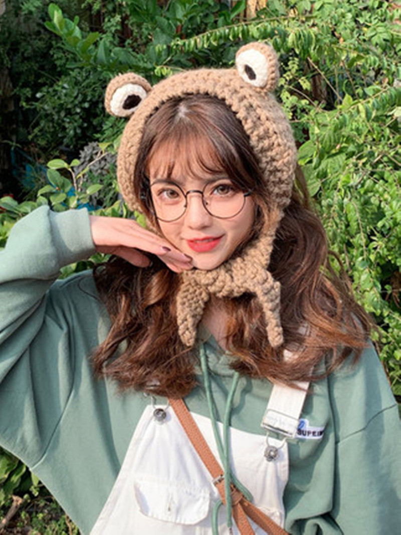 Knitted Wool Ear Mugs, Cat Ears And Ear Mugs. Women Are Warm And Sweet In Winter.