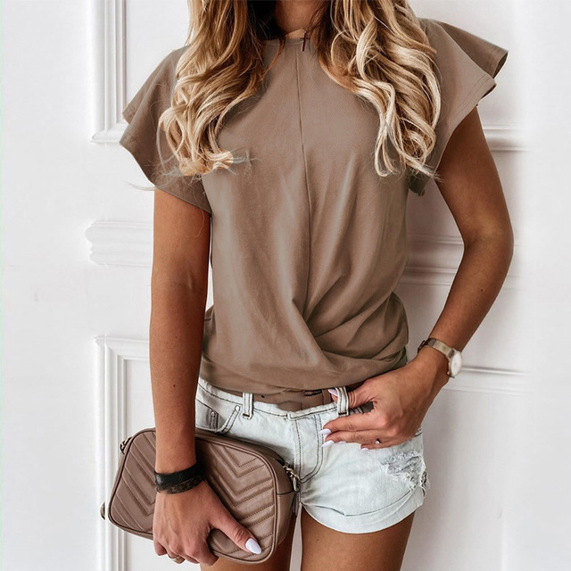 100% Cotton Women Printed Short Sleeve Round Neck Shirt Top Holiday Beach Summer Tops Cute Square Elegant Solid Slim Shirts 3
