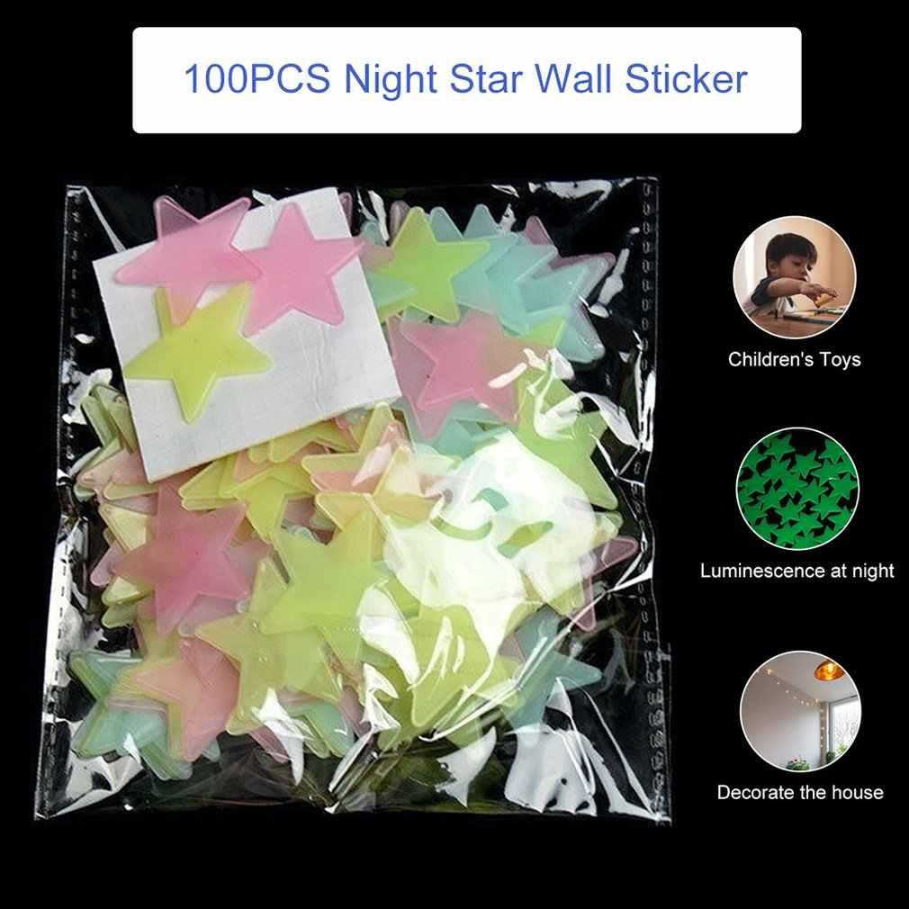 100 stücke Wand Aufkleber 3CM 3D Leuchtende Sterne Fluoreszierende Kinder Schlafzimmer Decke Hause Dark Star Wand Aufkleber Festivel Decor
