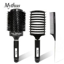 Mythus 3本毛ブラシと櫛セットラウンドセラミックイオン理髪ブラシもつれ解除ブラシテールくしプロのヘア櫛