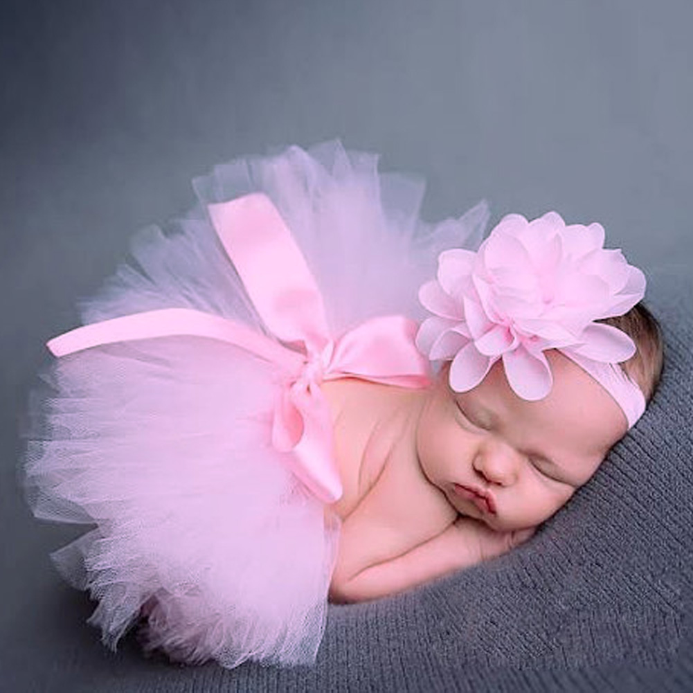 2pcs/set Cute Baby Girls Flower Hairband Bowknot Tutu Skirt Photo Props Photography Accessories Pink Baby Girl Photo Shooting