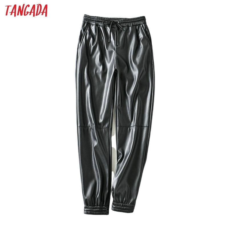 Tangada Women Patchwork Black PU Pants Strethy Waist Female Boyfriend Style Faux Leather Pants Trousers 6A107