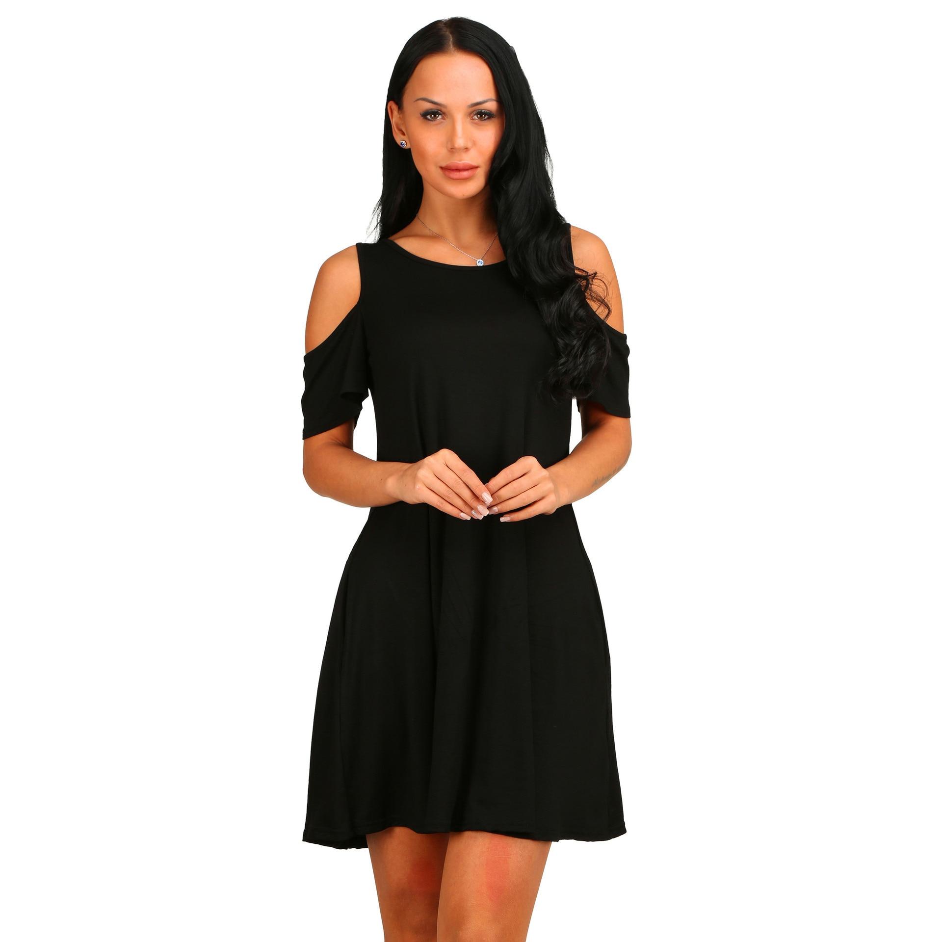 Women Short Sleeve Off Shoulder Dress 2020 O-Neck Knee Length Dress Thin Spring Female Vestidos De Fiesta With Pocket
