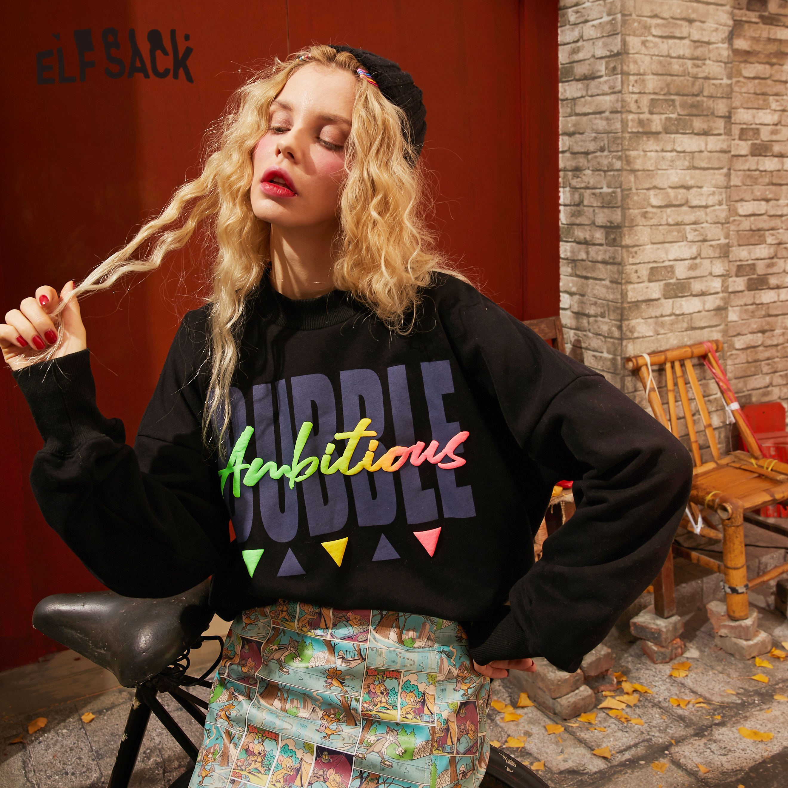 ELFSACK Black Solid Letter Print Lazy Casual Pullover Sweatshirt Women 2020 Spring New Long Sleeve Korean Female Daily Tops