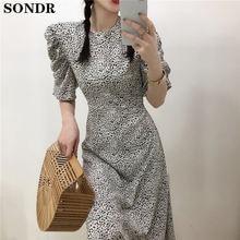 Винтажное длинное леопардовое платье для женщин шикарное корейское