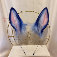 MMGG New Blue Rabbit Ears Hairhoop Tail Headwear Beast Cosplay Costume Accessories for Girl Women Handmade Work