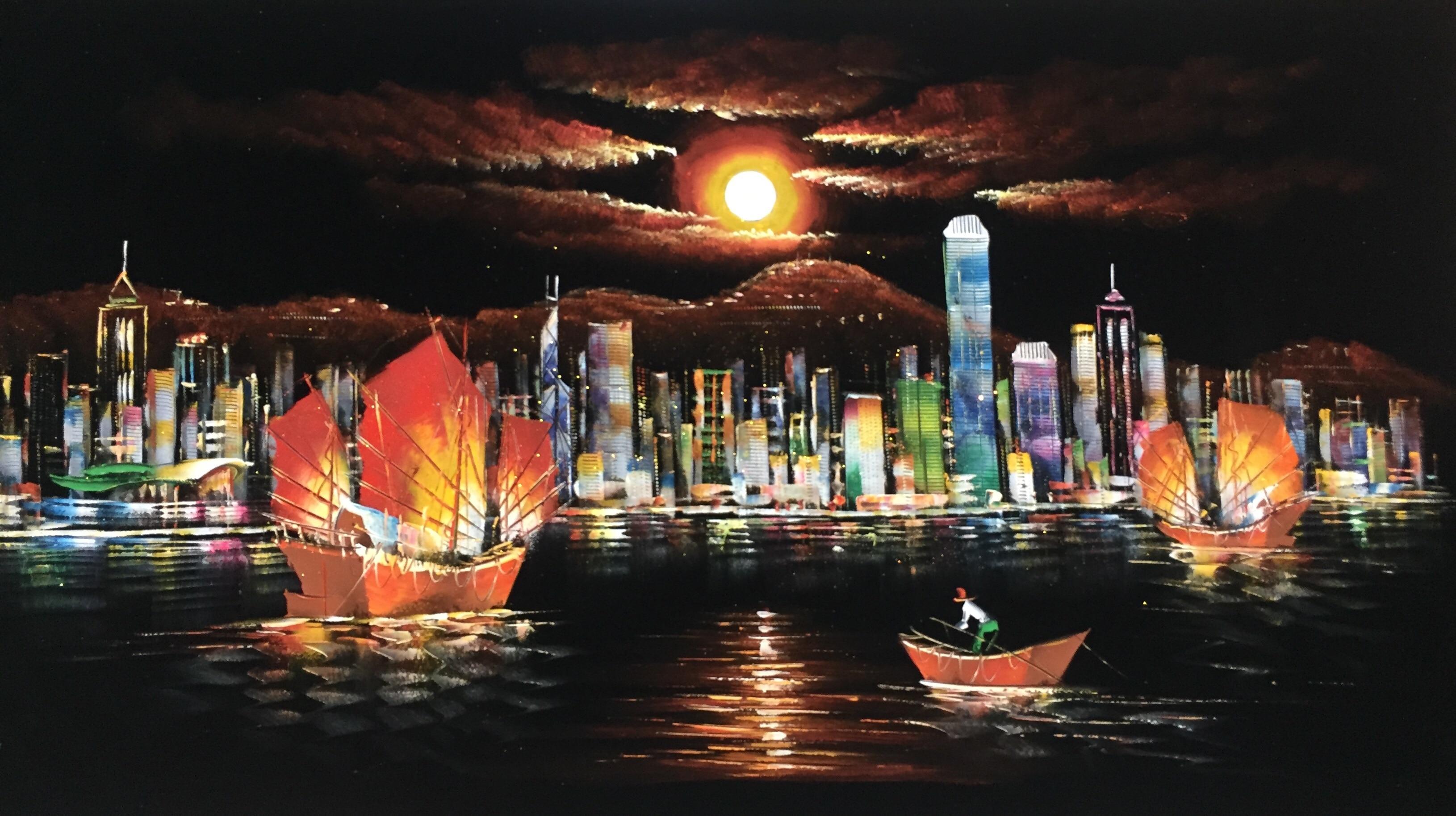 Pintados à Mão Pintura a Óleo na Flanela Pintura da Lona Imagem para Decoração de Casa Abstrato Hong Kong Victoria Harbour Parede Arte 100%