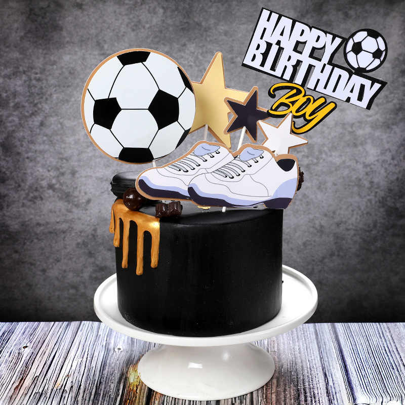 Excellent New Boy Happy Birthday Cake Topper Basket Ball Football Theme Funny Birthday Cards Online Alyptdamsfinfo