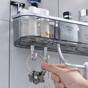 Image 4 - Punch free Bathroom Shelf Shampoo Cosmetic Towel Storage Rack Organizer Bath Corner Holder Household Items Bathroom Accessories
