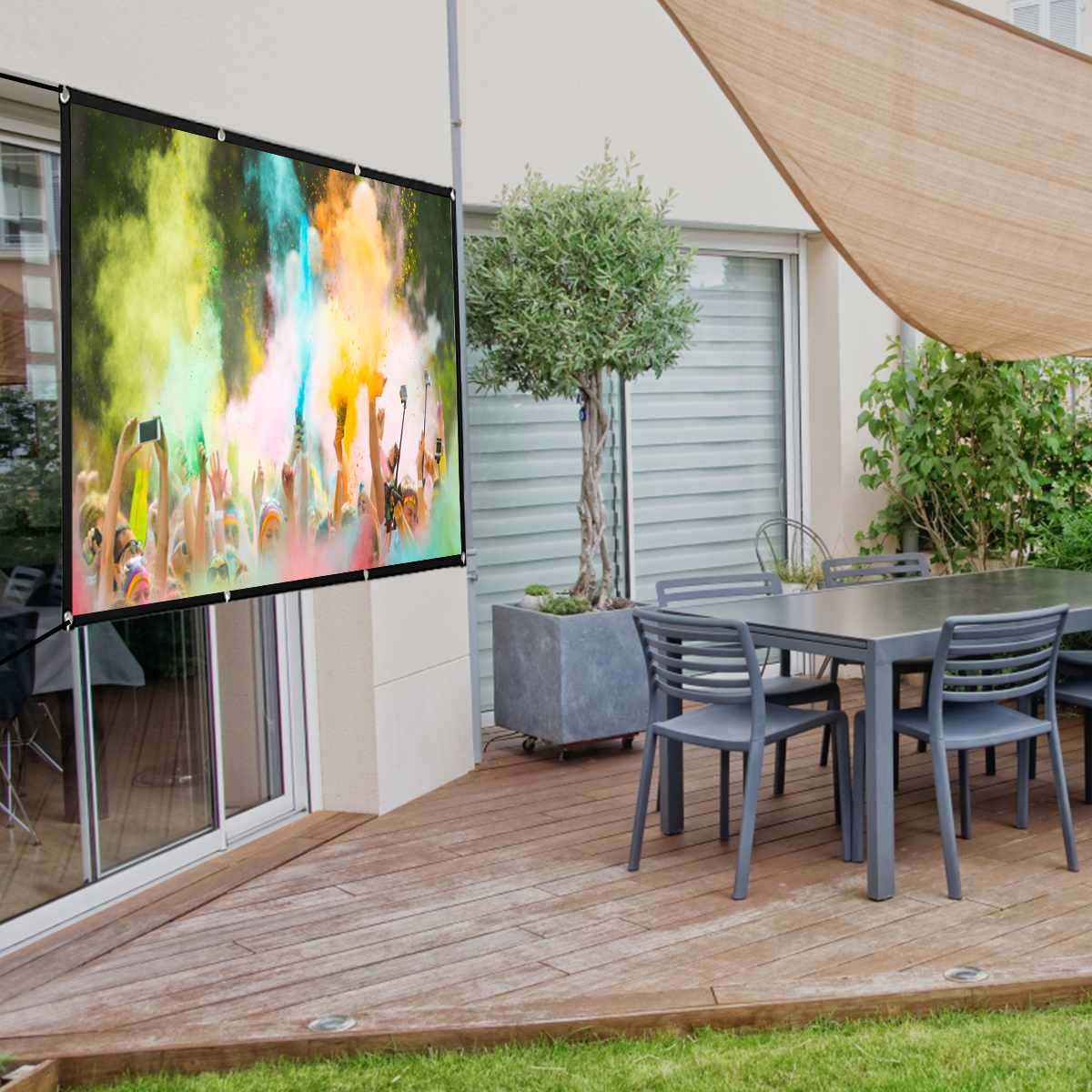 60 72 84 100 120 inch HD 1080P Foldable Projector Screen Full Portable Home Theater 3D Outdoor Cinema Projection Screen Canvas