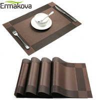 ERMAKOVA napperons lavable PVC nappe tapis tapis Tablemats résistant aux taches salle à manger disque bol tapis caboteur antidérapant PVC tampon