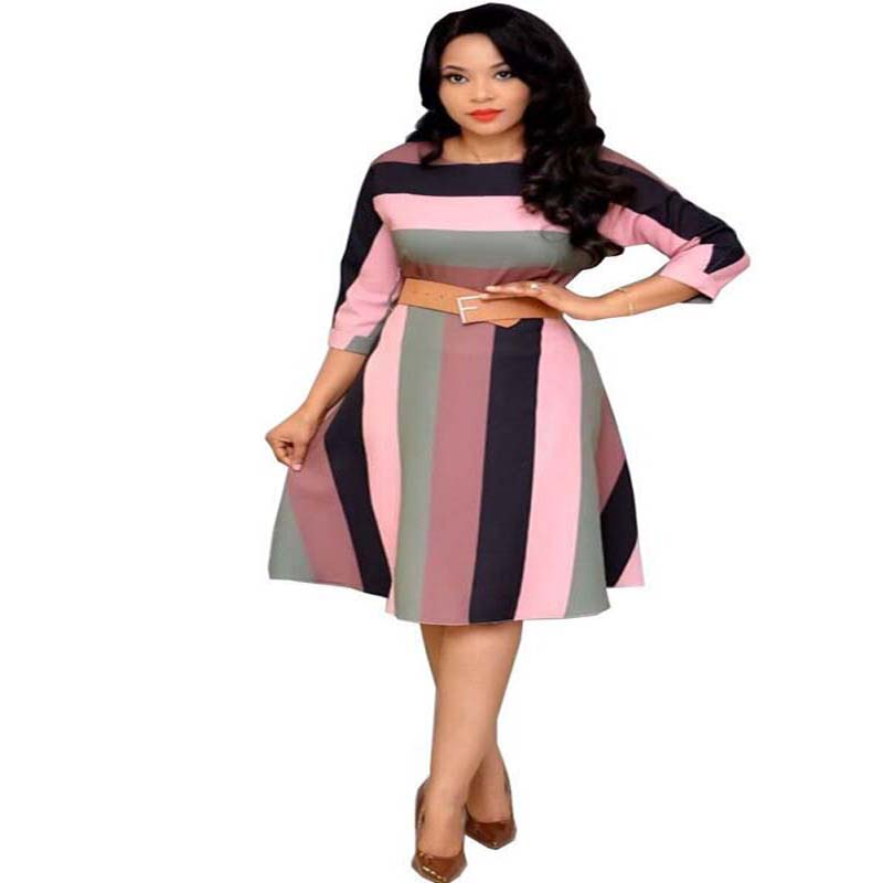 Fashion Rainbow Stripe A-Line Dress African Clothes Women Autumn O-Neck Multicolor Stripe Dress Office Lady High Quality