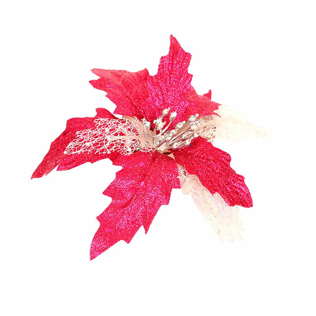 Paillettes d'or creux paillettes Simulation fleur de noël décorations de noël pour la maison arbre décor Navidad suspendus ornements