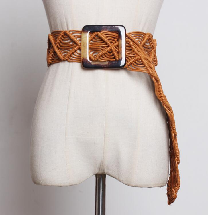 Women's Runway Fashion Knitted Cummerbunds Female Dress Corsets Waistband Belts Decoration Wide Belt R1856