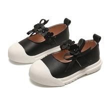 Skoex/детская повседневная кожаная обувь с мягкой подошвой; износостойкие модные кроссовки для девочек; однотонные туфли принцессы с цветами на плоской подошве для маленьких девочек