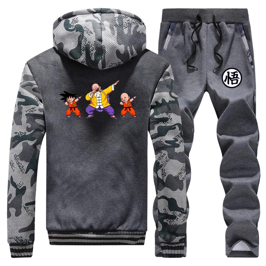 Image 3 - Dragon Ball Z, забавный мужской комплект, повседневная флисовая  мужская зимняя куртка, Мужская одежда в стиле хип хоп, Master Roshi  Camo, толстый мужской полный костюм, спортивный костюмСпортивные  костюмы
