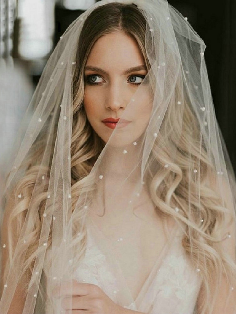 Wedding-Veil Comb Tulle Bride Pearl Ivory White Long Two-Layer Soft with Purdah