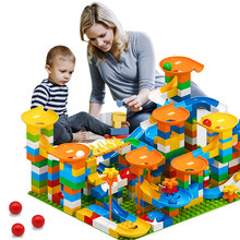 Corrida de mármore grande bloco labirinto bola blocos de construção funil slide blocos diy grandes tijolos brinquedos para crianças presente