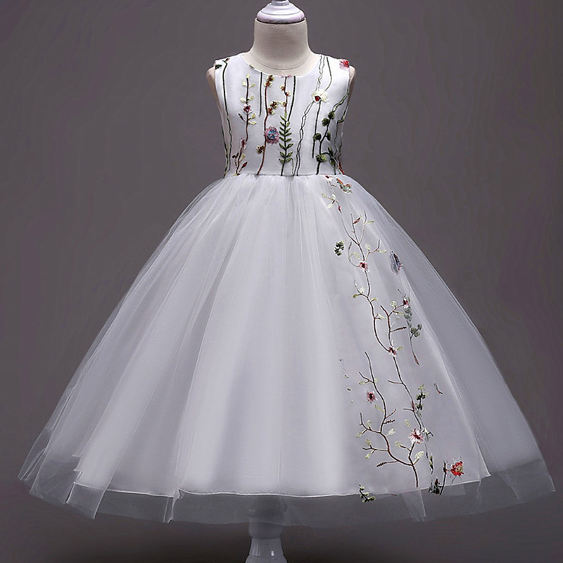 2019 Flower Girl Dresses Tulle Ball Gown Pageant Dresses For Wedding Party First Communion Dresses With Embroidery Vestidos.