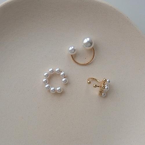 3pcs/sets Minimalist Pearl Ear Cuff Pearls Cross Clip Earrings without Piercing Elegant Earcuff Women Clips Jewelry(China)