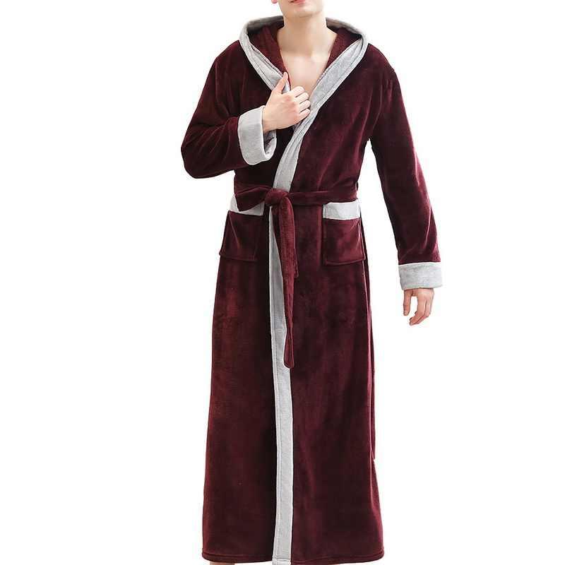 2019 新メンズ冬長く豪華なショールバスローブホーム服長袖ローブコートバスオムペニョワールドロップシップ