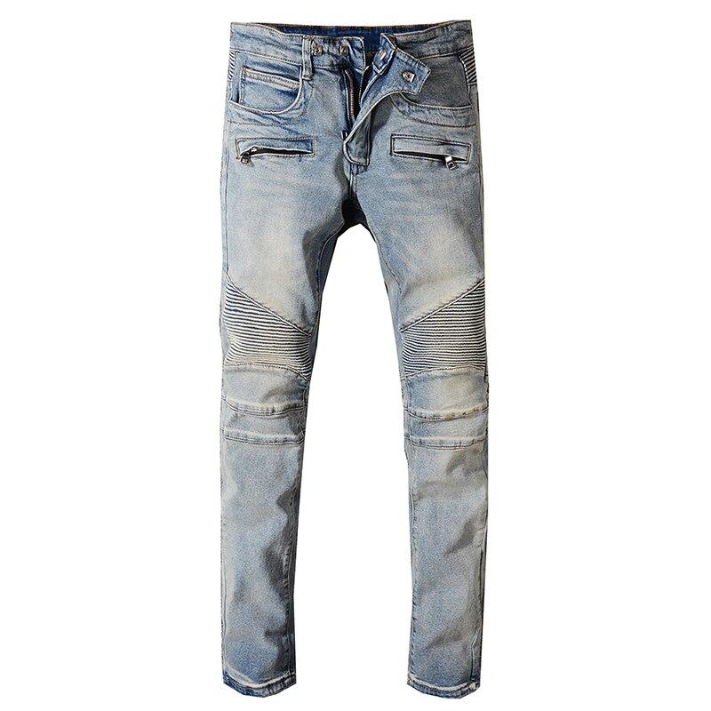 Seveyfan Hi Street Men's Vintage Motorcycle Jeans Blue Skinny Pleated Biker Jeans Brand Urban Jeans For Male R2561