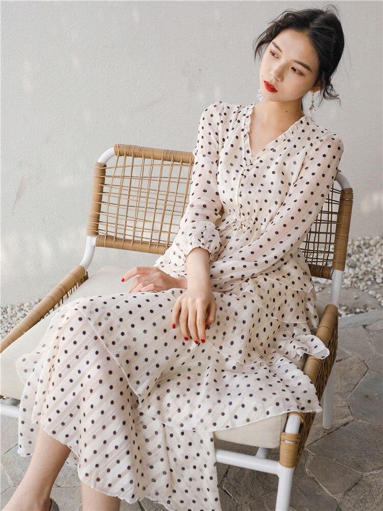 Dames décontracté travail robe Midi nouveau élégant à pois femmes mode col en v robes 2019 été Famale Vestidos