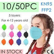 10/50 pces crianças kn95 mascarilla infantil ffp2 mascarillas criança ffp2 máscara facial ffp2mask mascarilla homólogo kn95 masque enfant
