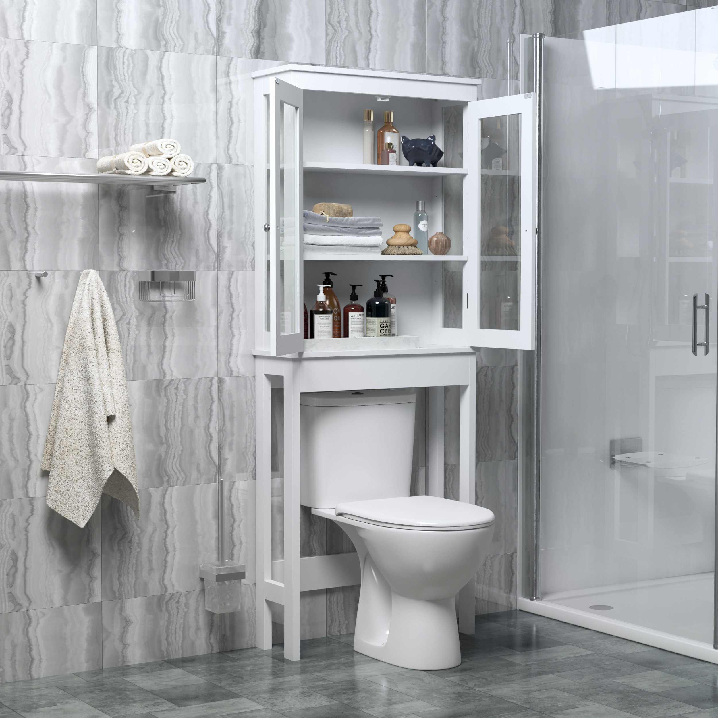 66*22*165cm Over The Toilet Storage Cabinet Bathroom Shelves Organizer Space Saver Bath Rack