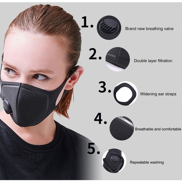KN95 Mouth Mask PM2.5 Cotton Unisex Anti Dust Mask Activated Carbon Filter Windproof Mouth-muffle Bacteria Proof Flu Face Masks 2