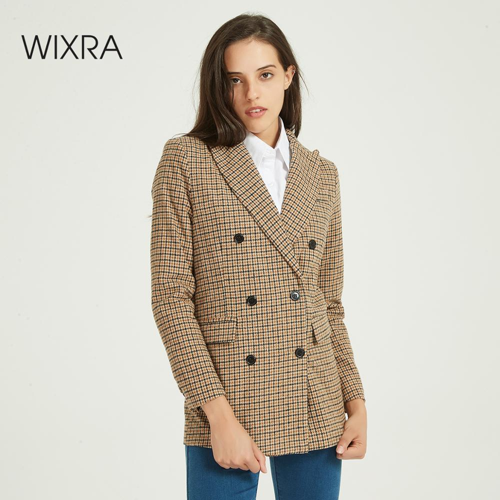Wixra Women Plaid Blazer Autumn Spring Double Breasted Office Lady Long Sleeve Vintage Coat 2020 Chic Outfit Outerwear