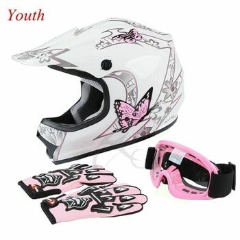 DOT Youth Kids Helmet Pink Butterfly Red Spider Net Dirt Bike ATV MX Helmets full face w/Goggles+gloves Cycling casco moto kask 2