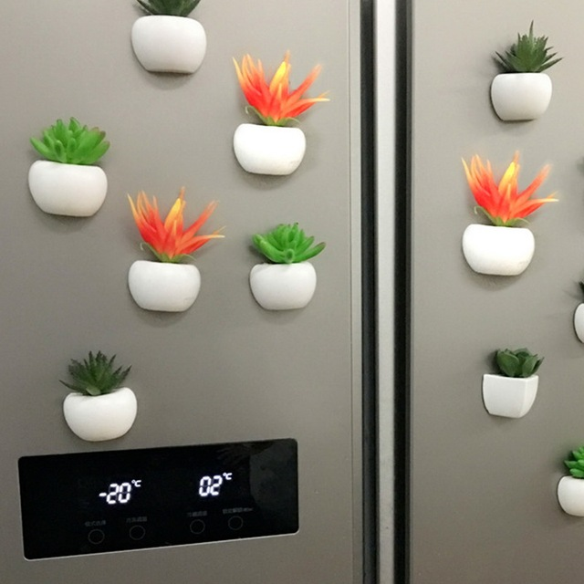 3d Fridge Sticker Magnetic Succulent Plant Fridge Magnet Sticker Bouquet Flower Fridge Potted Plant Sticker For Home Wall Decor 4