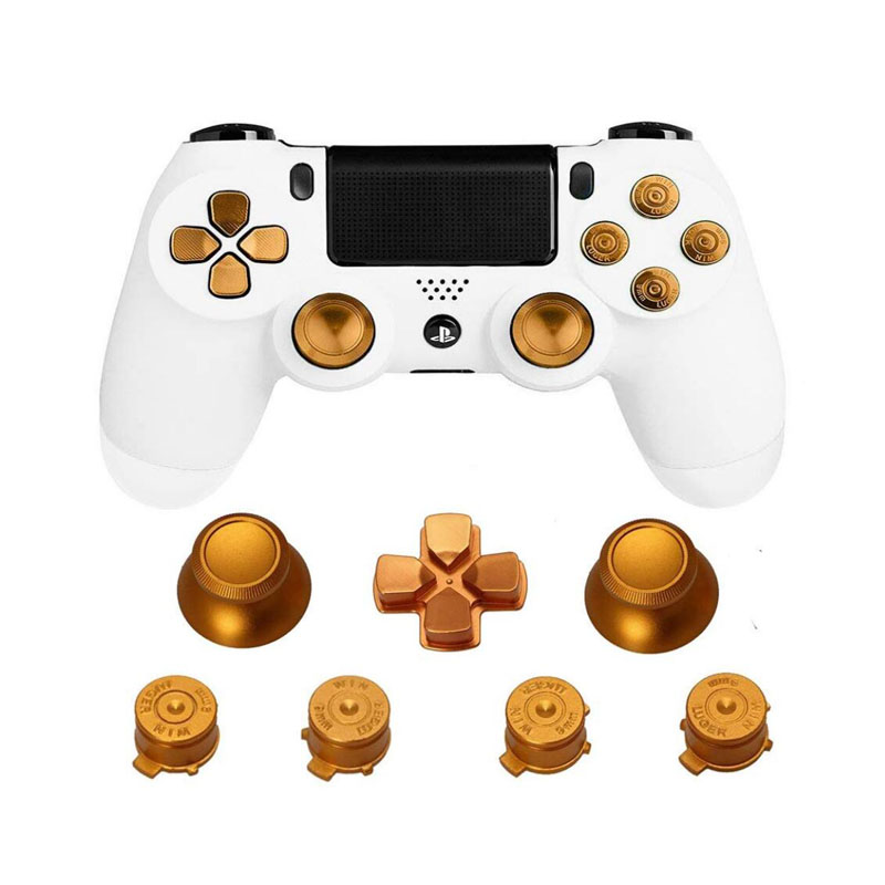 Metal Analog Joystick ThumbStick Grips Cap+D-pad Action Key Bullet Button Replacement For Playstation Dualshock 4 PS4 Controller